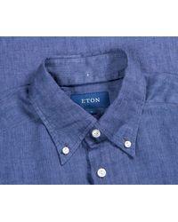 Pockets Eton Overhead Linen Shirt Blue