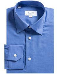 Eton of Sweden Contemporary Fit Herringbone Flannel Shirt Blue