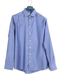 Pockets Eton Slim Fit Herringbone Twill Shirt Blue