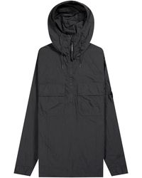 Pockets Cp Company 'chrome Lense' 1/4 Zip Popover Overshirt Military Black
