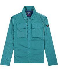 Pockets Paul & Shark 'econyl' Nylon Metal Overshirt In Water Green
