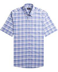 Paul & Shark Regular Fit Short Sleeved Checked Shirt Blue