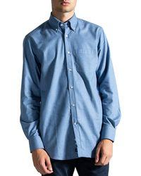Paul & Shark Button Down Flannel Shirt Blue