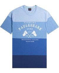 Pockets Paul & Shark Yatchting Print Striped T-shirt Blue