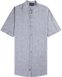 Emporio Armani Short Sleeve Nero Collar Linen Shirt Blue - Multicolour