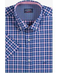 Paul & Shark - Cross Check Short Sleeved Shirt Navy/red - Lyst