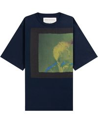 Dries Van Noten Len Lye 'rainbow Dance' Print T-shirt Navy - Blue