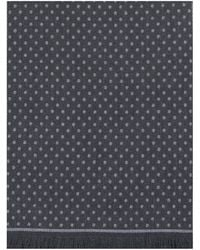 Canali Reversible Woven Spotted Wool Scarf Gray