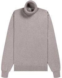 Canali - Luxury Knitted Roll Neck Taupe - Lyst