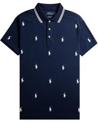 Polo Ralph Lauren Logo Print Polo Navy - Blue