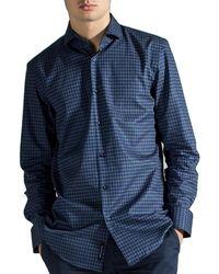 BOSS Slim Fit 'jason' Houndstooth Shirt Navy/grey - Blue