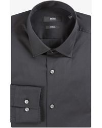 BOSS by Hugo Boss 'jenno' Slim Fit Stretch Plain Shirt Black