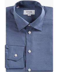 Eton of Sweden - Slim Fit Button-under Micro Diamond Shirt Steel Blue - Lyst