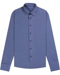 Pockets Eton Jersey Shirt Two Tone Blue