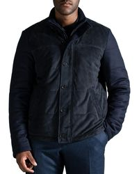 Canali Suede & Flannel Padded Bomber Jacket Navy - Blue