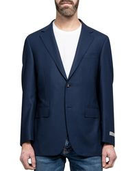 Canali Classic Travel Water Resistant Sports Jacket Blue