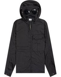 Pockets Cp Company 'chrome Goggle' Hooded Overshirt Black