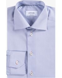 Eton of Sweden - Contemporary Fit Micro 'y' Print Shirt Navy/white - Lyst