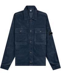 Pockets Cp Company 'corduroy' Long Sleeve Shirt Navy - Blue