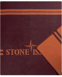 Stone Island 'panno' Jacquard Blanket Burgundy - Multicolour