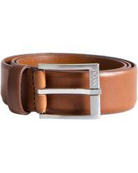 BOSS 'erron_sz35' Leather Belt Tan - Brown