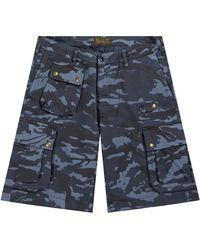 Belstaff Castmaster Camo Shorts Navy - Blue