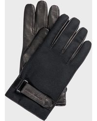 Emporio Armani Leather & Wool Gloves Black
