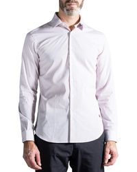 Burberry 'sleaton' Slim Fit Striped Cotton Poplin Shirt Burgundy - White