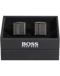 BOSS 'nic' Square Logo Cufflink Silver - Metallic