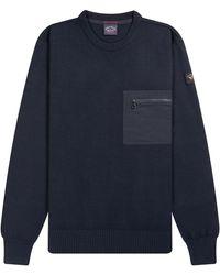 Pockets Paul & Shark Chest Pocket Knit Navy - Blue