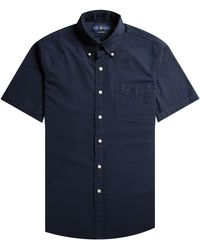 Polo Ralph Lauren Classic Fit Seersucker Short Sleeved Shirt Navy - Blue