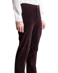 Canali Luxury Corduroy Trouser Grape - Multicolor