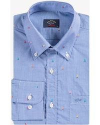 Paul & Shark Micro Gingham Boat Shirt Blue
