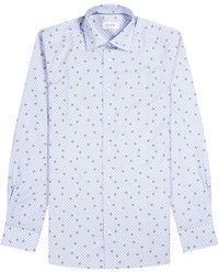 Eton Contemporary Fit 'avacado' Polka Dot Shirt Blue