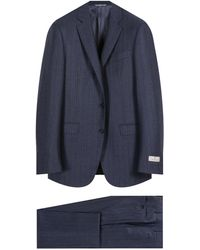 Canali Striped Flannel Navy Suit - Blue