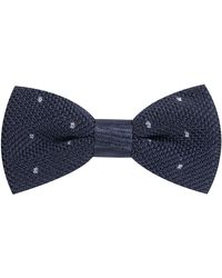 Pockets Hugo Knitted Polka Dot Bow Tie Navy - Blue
