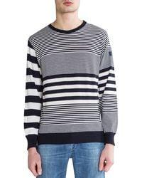Paul & Shark Varied Stripe 'three-in-one Kompact Technology' Knit Navy/white - Blue