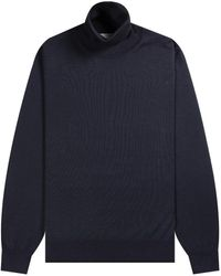 Canali Merino Wool Turtleneck Navy - Blue