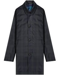 Paul Smith 'loro Piana' Removable Gilet Raincoat Green/navy Tartan - Blue