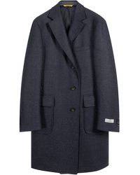 Canali 'kei' Speckled Detail Overcoat Navy - Blue