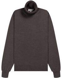 Canali - Luxury Knitted Roll Neck Brown - Lyst