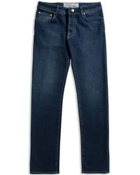 Jacob Cohen Handmade Tailored Jeans With Green Detail Mid Wash - Blue