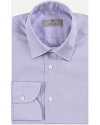 Canali - Textured Formal Long Sleeved Shirt Blue - Lyst