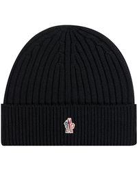 Moncler Grenoble Ribbed Logo Beanie Hat Black