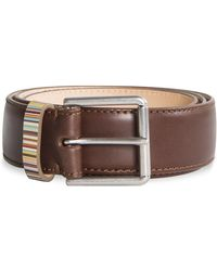 Paul Smith Signature Multi Stripe Keeper Belt Dark Tan - Brown
