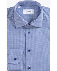 Eton Slim Fit Gingham Check Shirt Blue/white