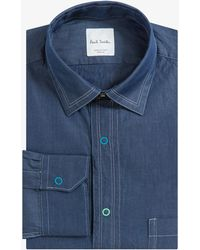 Paul Smith - Multi Press Stud Casual Denim Shirt Blue - Lyst