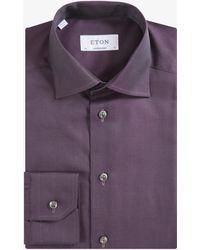 Eton of Sweden Contemporary Fit Plain Iridescent Style Shirt Deep Plum - Purple