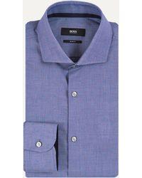BOSS | 'jery' Textured Spot Design Shirt Blue | Lyst