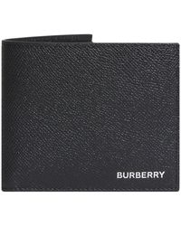 Burberry Billfold Grained Leather Wallet - Black